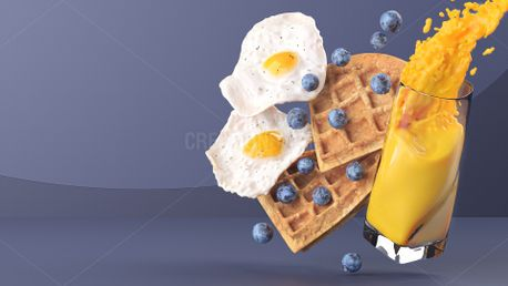 Waffles with Eggs and Berries (75830)
