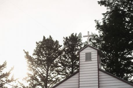 Church with sunlight and trees (76600)