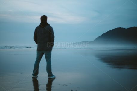Man Looking Out at Ocean (76766)