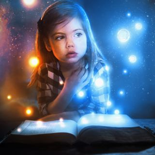 Girl and lights from Bible