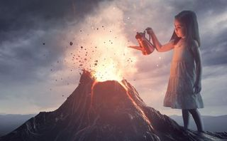 Girl puts out a volcano