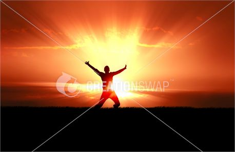 Man Jumping in Sun Rays (8058)