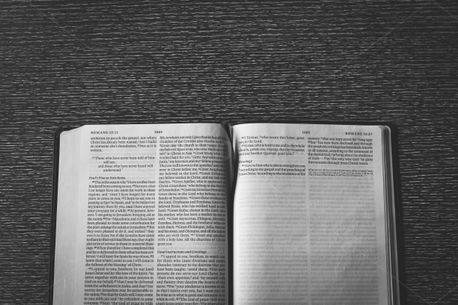 Open Bible on Table (80315)