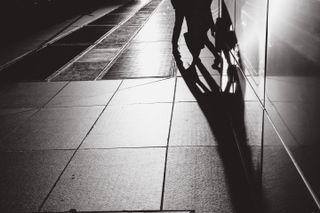 People walking on a city sidew