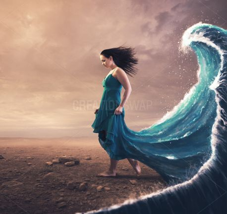 Woman and tidal wave (80771)