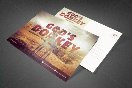 God's Donkey Church Postcard (81883)