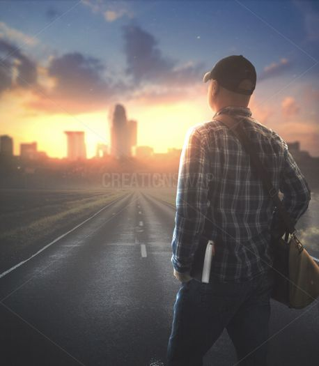 Man walking with Bible (82497)