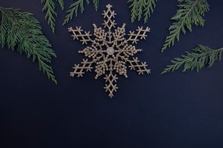 Gold Snowflake + Greenery