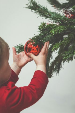 Toddler Playing With Ornament