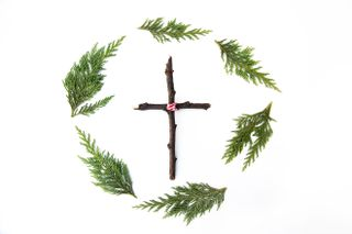 Wreath + Wooden Cross