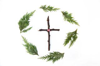 Wreath + Wooden Cross
