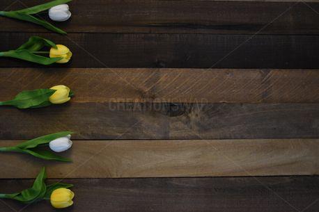 Rustic Wood Tulip Border (85558)