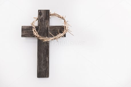 Wooden Cross + Crown of Thorns (85689)