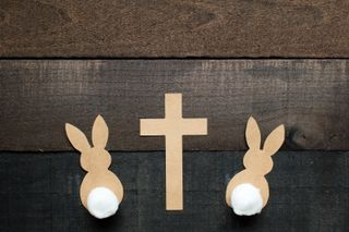 Cottontail Bunnies with Cross