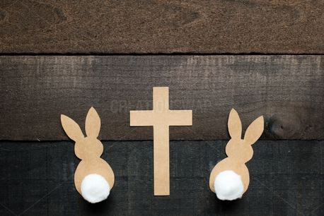 Cottontail Bunnies with Cross (86129)