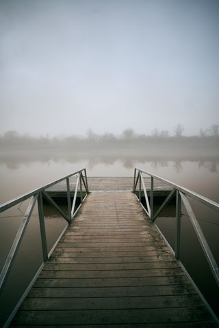 Foggy River and Dock