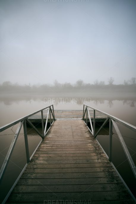 Foggy River and Dock (88649)