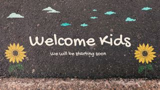Sidewalk chalk welcome