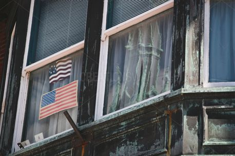 American Flag In Window (89831)