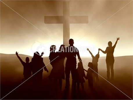 People at the Cross of Jesus (9158)