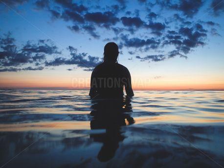 Woman Looking At Lake (90210)