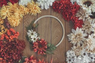 Fall Wreath and Silk Flowers