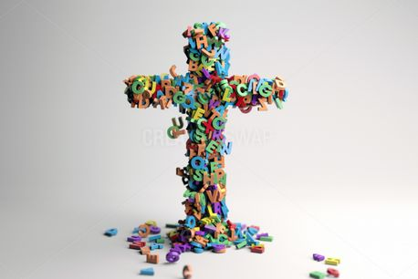 Cross made up of letters (93689)