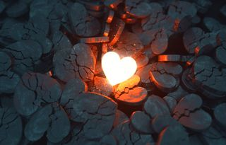 Glowing Heart Among Broken One