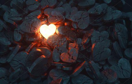 Glowing Heart among Broken One (94194)