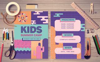 Kids Summer Camp Postcard